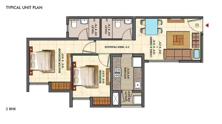 2bhk-deluxe- floor-plan- lodha-palava-casa-marvella-kalyan-shil-road-mumbai-Maharashtra