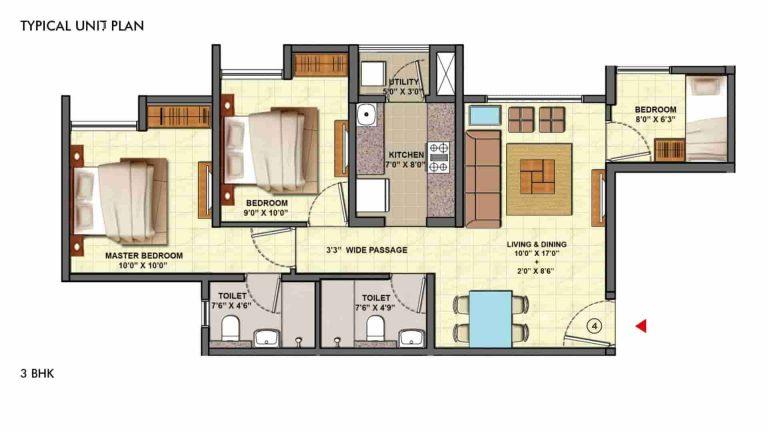 3bhk-ultima- floor-plan- lodha-palava-casa-marvella-kalyan-shil-road-mumbai-Maharashtra