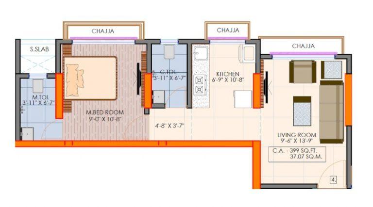 project-1bhk-type2-floor-plan-victoria-54-vaibhav-laxmi-developers-kannamwar-nagar-vikhroli-east-mumbai-maharashtra