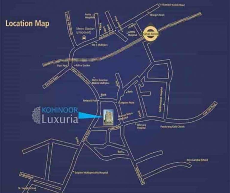 location-google-map-kohinoor-luxuria-kohinoor-group- suchak-naka-kalyan -maharashtra
