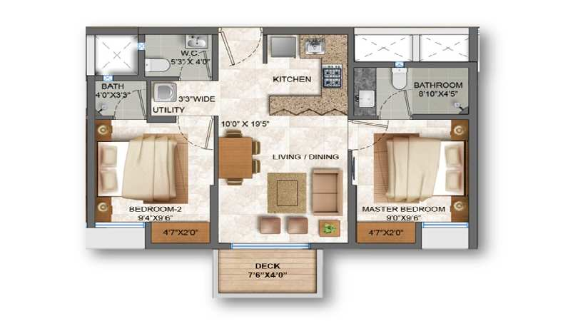 2 BHK With Deck