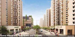 central-avenue-with-wide -streets-and- footpaths-amenities-lodha-palava-city-casa-aurelia-casa-aurora-lodha-group-kalyan-shil-road-dombivali-maharash